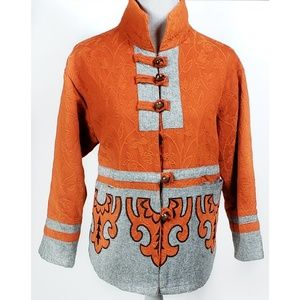 Quilted Asian Brocade Embroidered Tweed Jacket